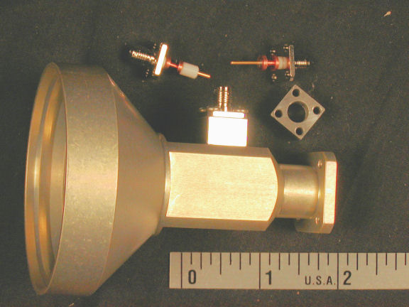 photo of one-piece feed with horn and lowpass filter